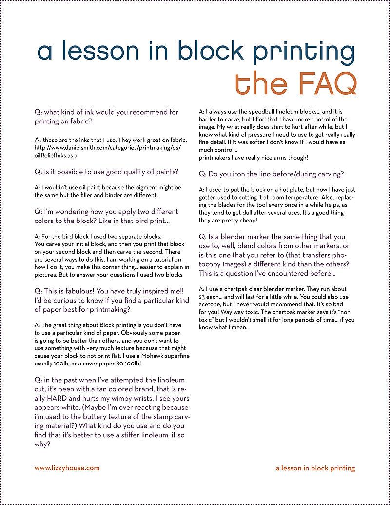 Block print FAQ