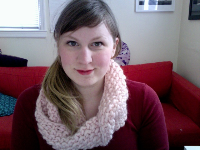 Pale pink cowl